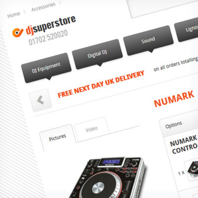 Freelance Web Design 2 of 3 • DJ SuperStore website