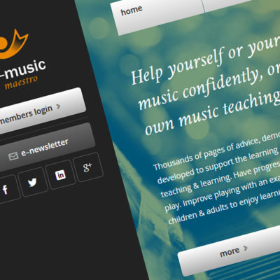 Freelance Web Design 2 of 3 • E-Music Maestro website
